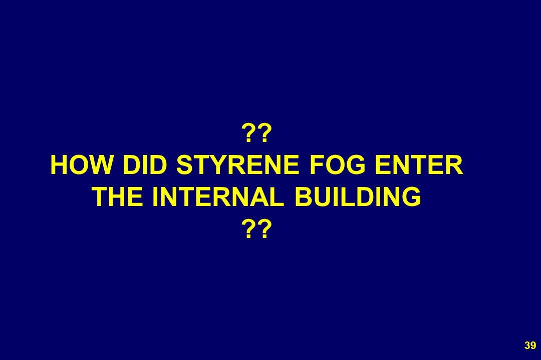 39 ?? HOW DID STYRENE FOG ENTER THE INTERNAL BUILDING ??