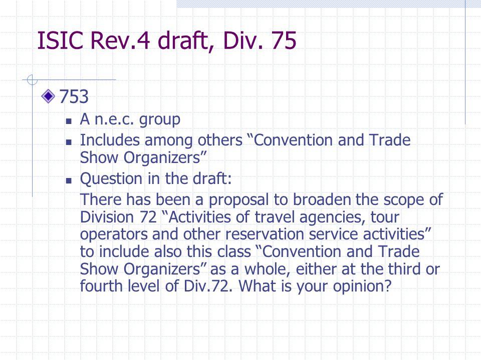 ISIC Rev.4 draft, Div. 75 753 A n.e.c.
