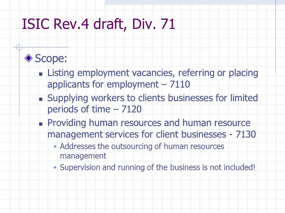 ISIC Rev.4 draft, Div.
