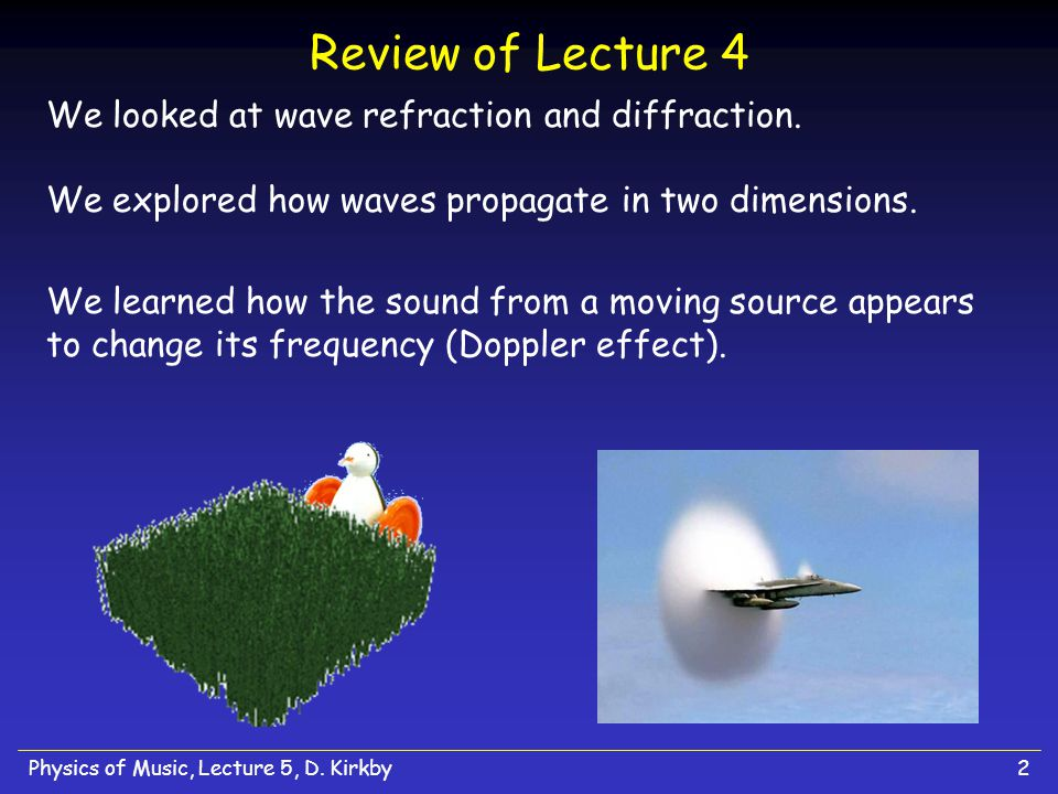 Physics of Music, Lecture 5, D. Kirkby32 Nodes and Anti-Nodes in an Air Column