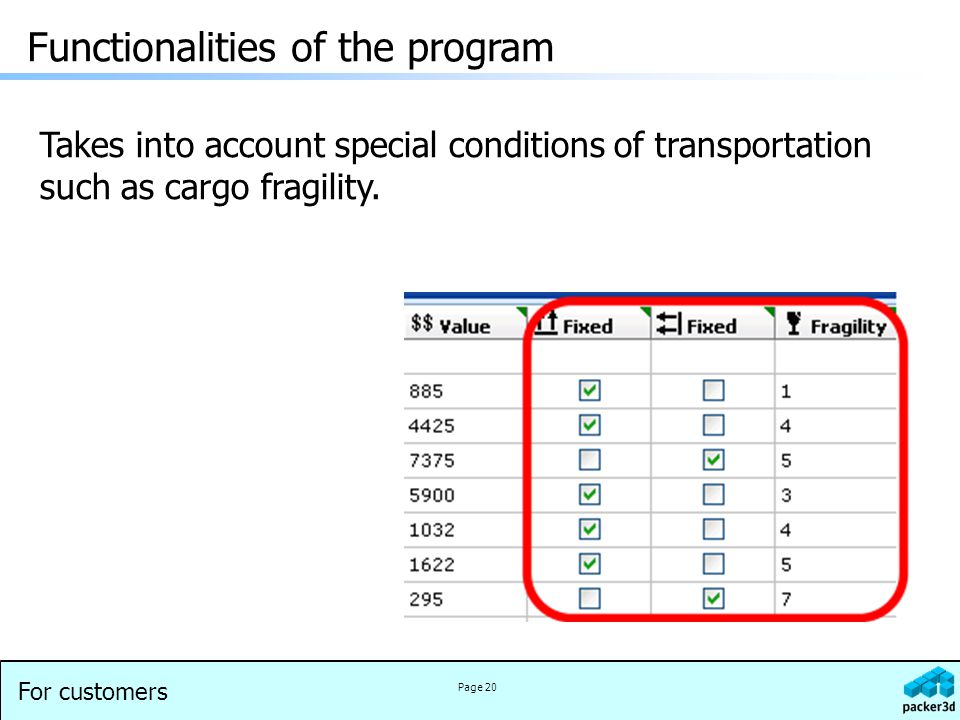 For customers Page 20 Takes into account special conditions of transportation such as cargo fragility.