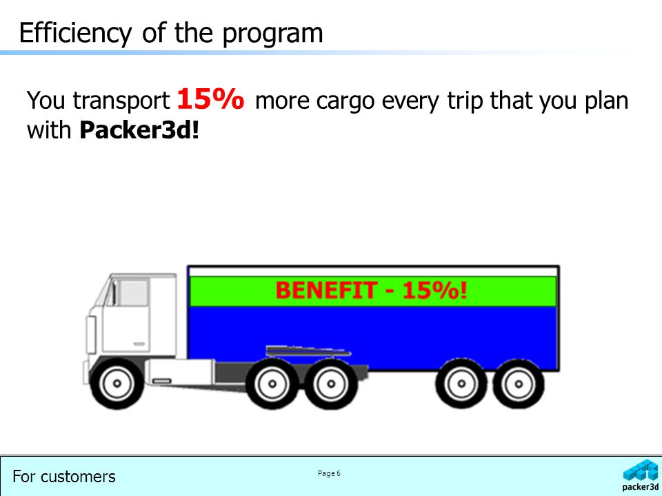 For customers Page 6 Efficiency of the program You transport 15% more cargo every trip that you plan with Packer3d!