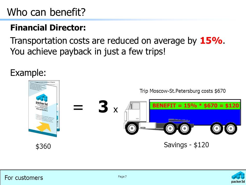 For customers Page 7 Transportation costs are reduced on average by 15%.