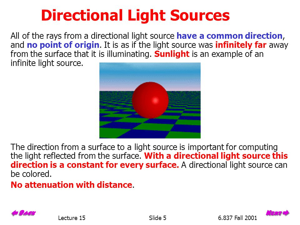 Lecture 15Slide 156.837 Fall 2001 Computing Diffuse Reflection The angle between the surface normal and the incoming light ray is called the angle of incidence and we can express a intensity of the light in terms of this angle.