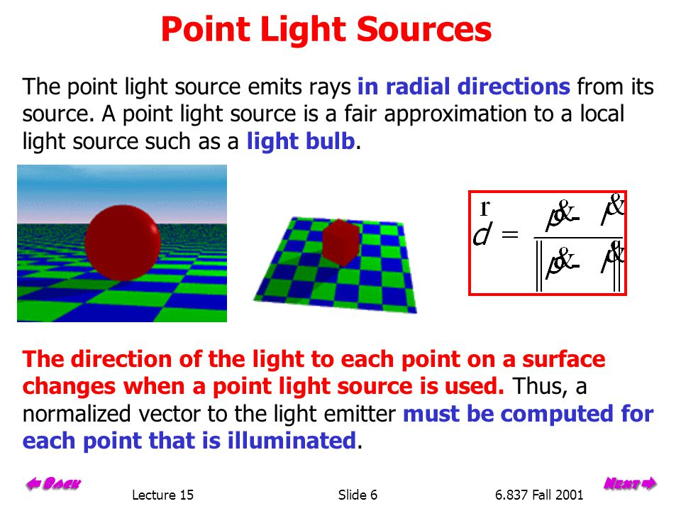 Lecture 15Slide 66.837 Fall 2001 Point Light Sources The point light source emits rays in radial directions from its source.