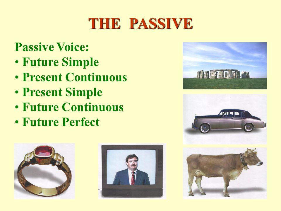 THE PASSIVE Passive Voice: Future Simple Present Continuous Present Simple Future Continuous Future Perfect