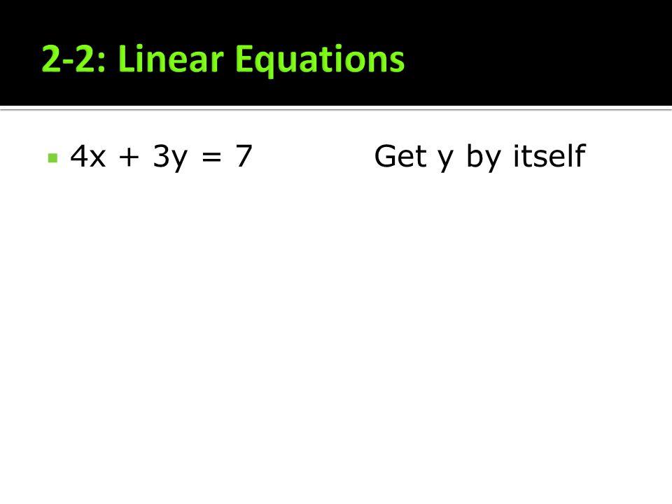 4x + 3y = 7Get y by itself