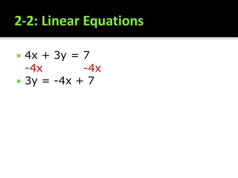 4x + 3y = 7 -4x -4x 3y = -4x + 7