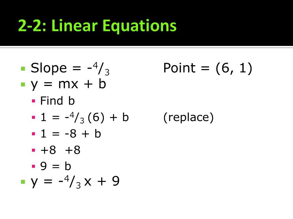 Slope = - 4 / 3 Point = (6, 1) y = mx + b Find b 1 = - 4 / 3 (6) + b(replace) 1 = -8 + b +8 +8 9 = b y = - 4 / 3 x + 9