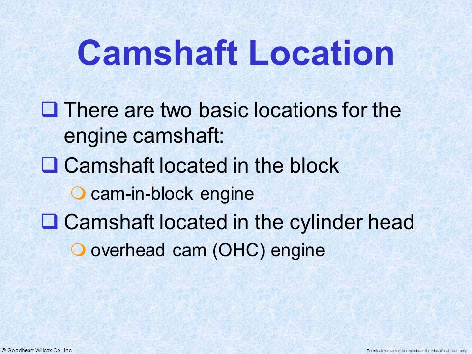 © Goodheart-Willcox Co., Inc. Permission granted to reproduce for educational use only Camshaft Location There are two basic locations for the engine