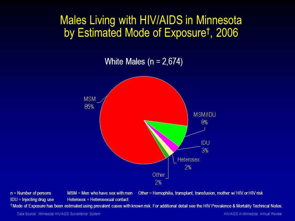 Data Source: Minnesota HIV/AIDS Surveillance System HIV/AIDS in Minnesota: Annual Review Males Living with HIV/AIDS in Minnesota by Estimated Mode of Exposure, 2006 White Males (n = 2,674) n = Number of persons MSM = Men who have sex with men Other = Hemophilia, transplant, transfusion, mother w/ HIV or HIV risk IDU = Injecting drug use Heterosex = Heterosexual contact Mode of Exposure has been estimated using prevalent cases with known risk.