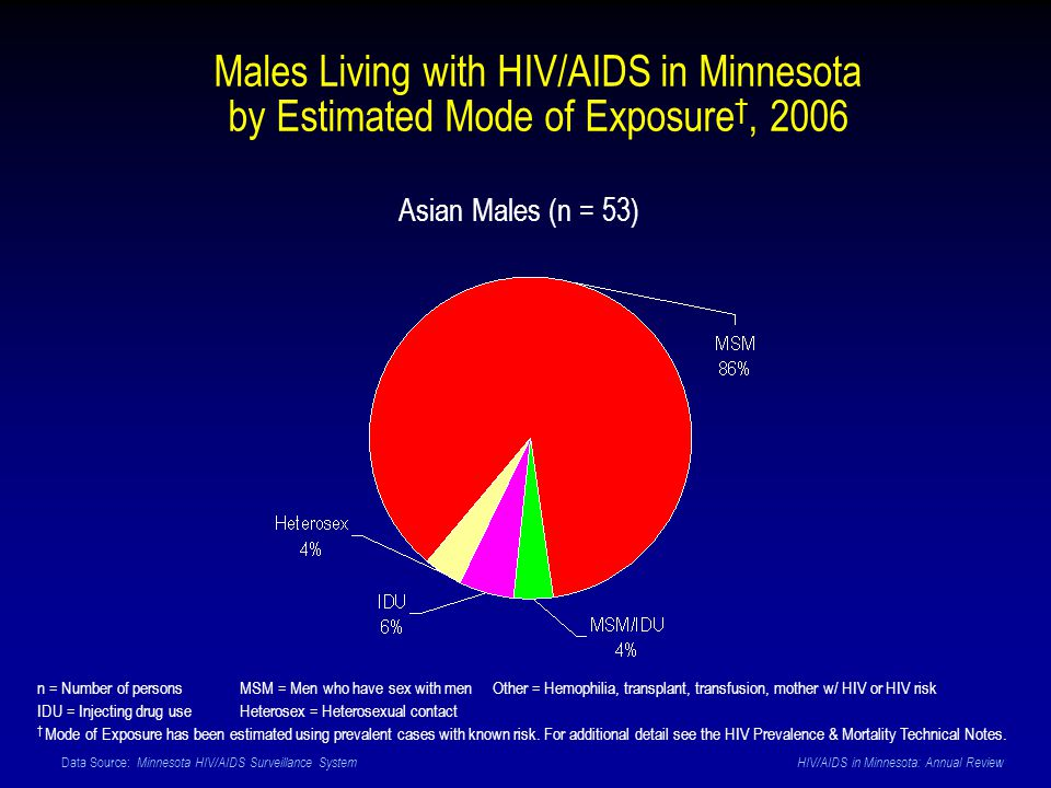 Data Source: Minnesota HIV/AIDS Surveillance System HIV/AIDS in Minnesota: Annual Review Asian Males (n = 53) Males Living with HIV/AIDS in Minnesota