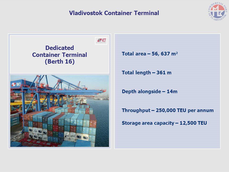 Total area – 56, 637 m 2 Total length – 361 m Depth alongside – 14m Throughput – 250,000 TEU per annum Storage area capacity – 12,500 TEU Dedicated Container Terminal (Berth 16) Vladivostok Container Terminal