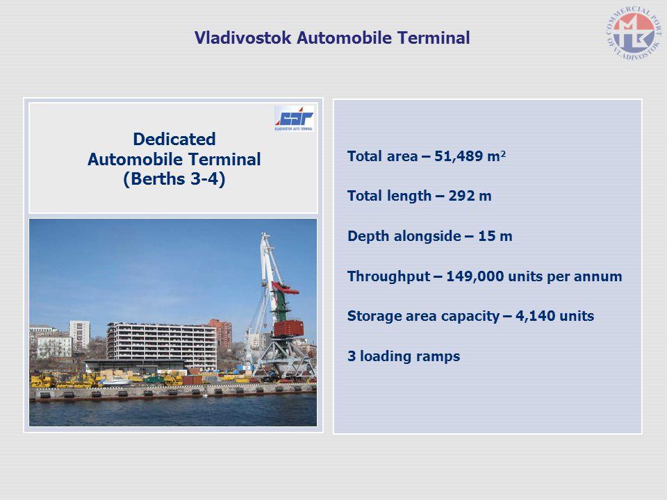 Total area – 51,489 m 2 Total length – 292 m Depth alongside – 15 m Throughput – 149,000 units per annum Storage area capacity – 4,140 units 3 loading ramps Dedicated Automobile Terminal (Berths 3-4) Vladivostok Automobile Terminal