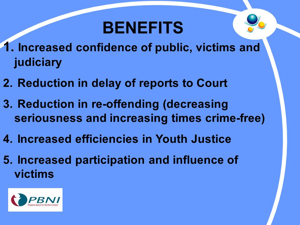 BENEFITS 1. Increased confidence of public, victims and judiciary 2.