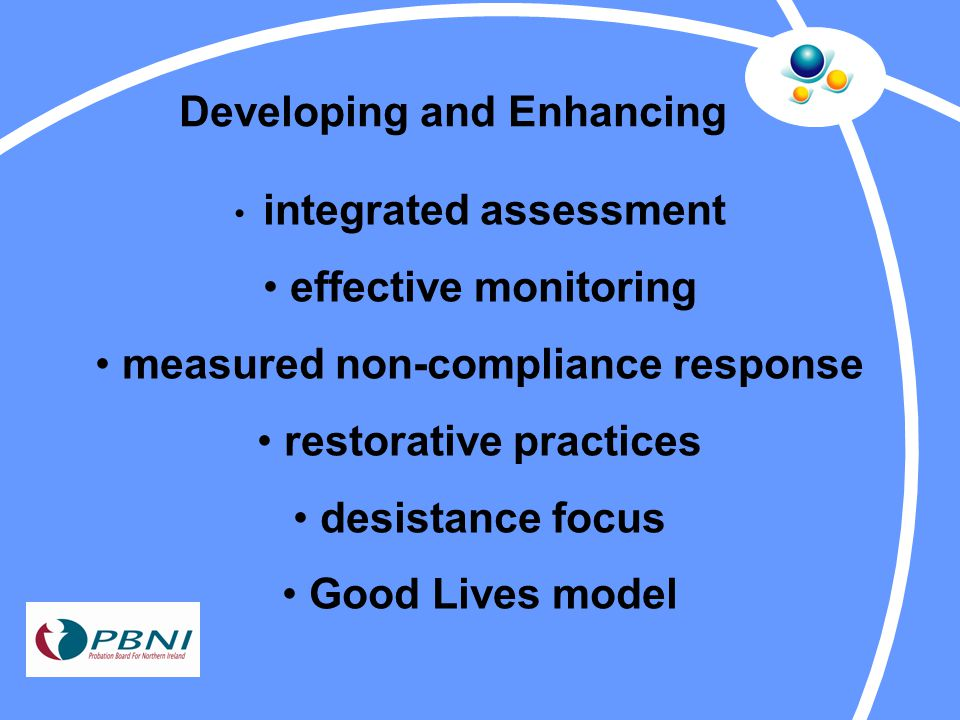 Developing and Enhancing integrated assessment effective monitoring measured non-compliance response restorative practices desistance focus Good Lives model