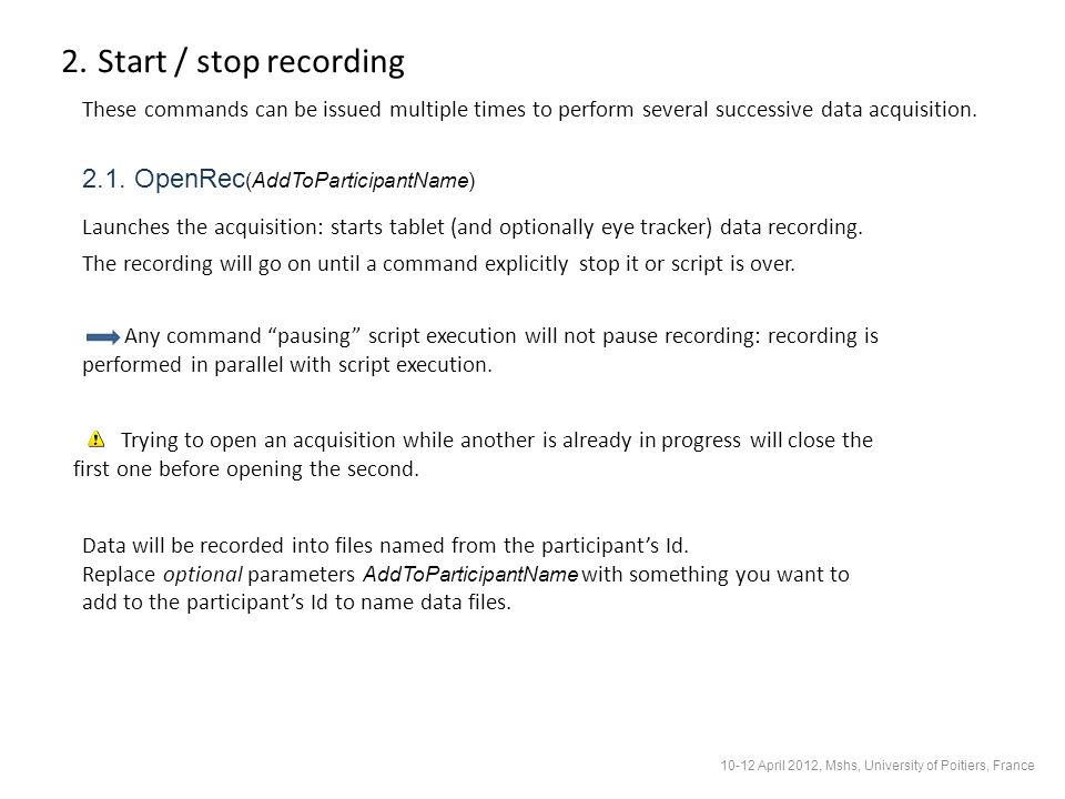 2.2.CloseRec Stops the acquisition and closes data file.