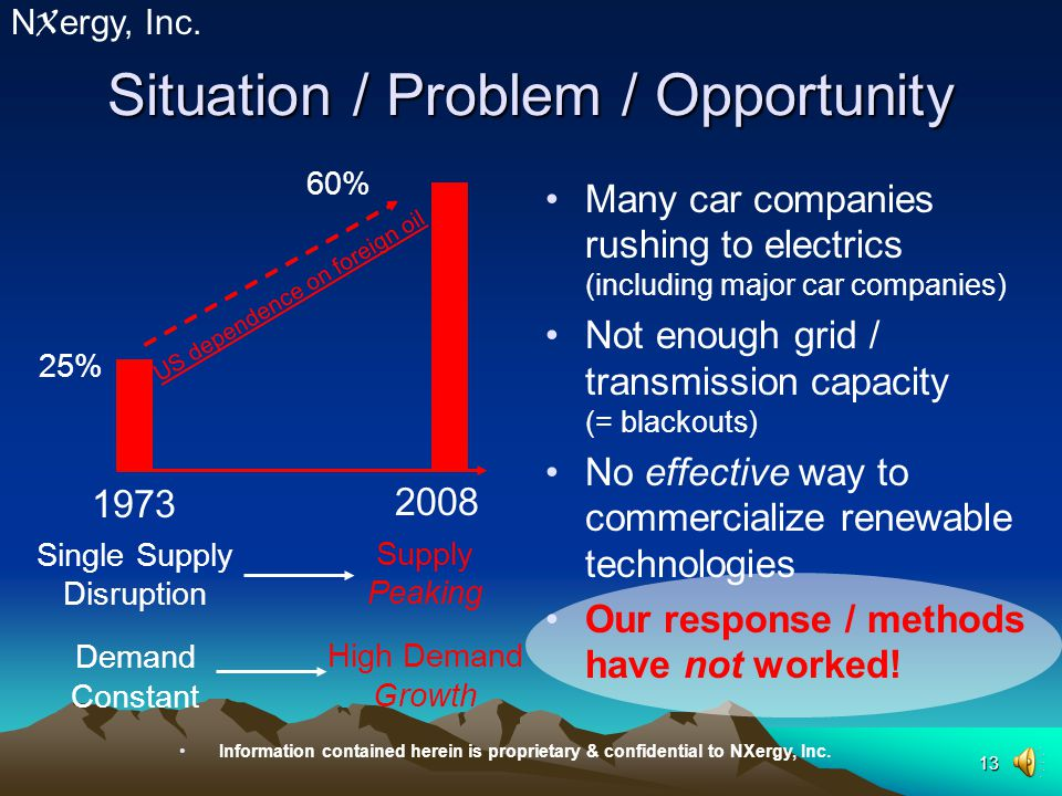 12 Situation / Problem / Opportunity N X ergy, Inc.
