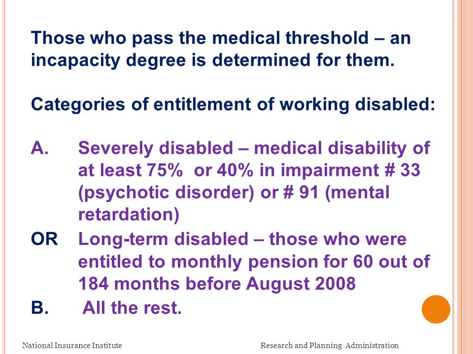 National Insurance Institute Research and Planning Administration Those who pass the medical threshold – an incapacity degree is determined for them.