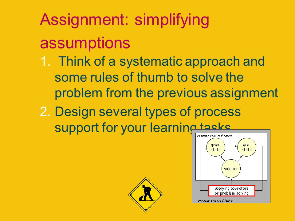 Assignment: simplifying assumptions 1. Think of a systematic approach and some rules of thumb to solve the problem from the previous assignment 2.Desi
