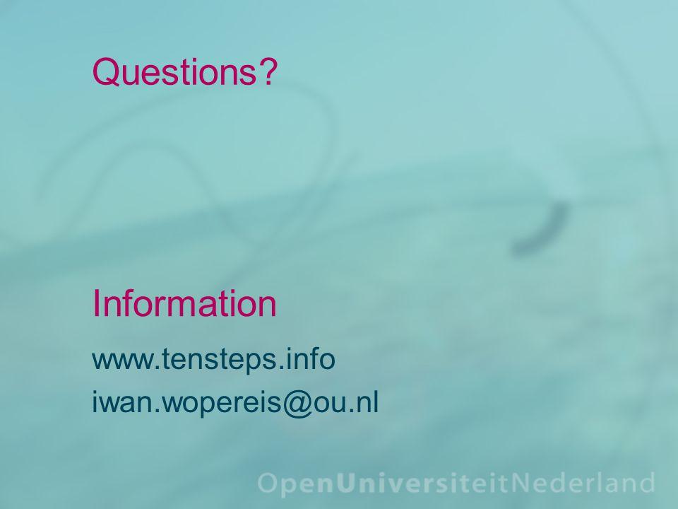 Questions www.tensteps.info iwan.wopereis@ou.nl Information