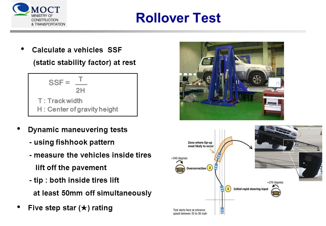 Rollover Test Calculate a vehicles SSF (static stability factor) at rest Dynamic maneuvering tests - using fishhook pattern - measure the vehicles inside tires lift off the pavement - tip : both inside tires lift at least 50mm off simultaneously Five step star ( ) rating T2H SSF = SSF = T : Track width T : Track width H : Center of gravity height H : Center of gravity height