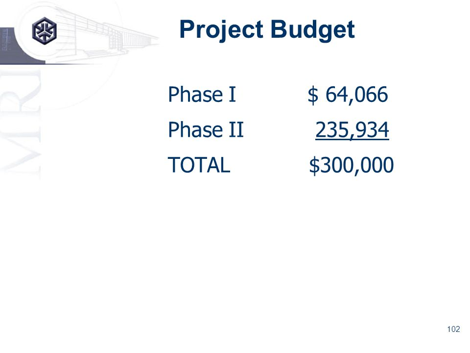 102 Project Budget Phase I $ 64,066 Phase II 235,934 TOTAL$300,000