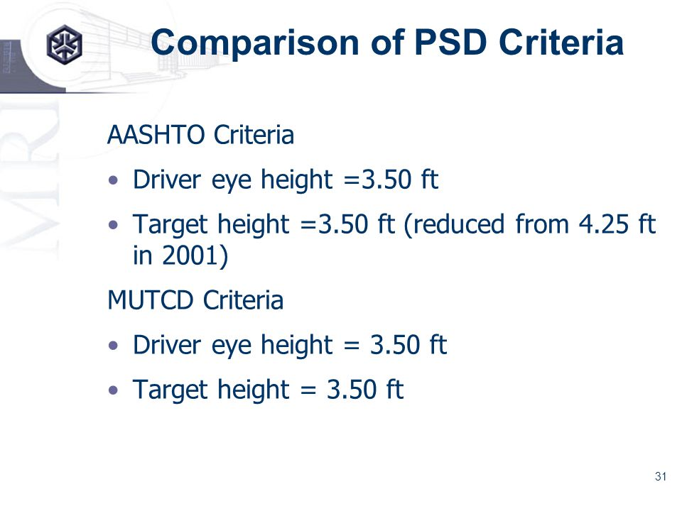 31 Comparison of PSD Criteria AASHTO Criteria Driver eye height =3.50 ft Target height =3.50 ft (reduced from 4.25 ft in 2001) MUTCD Criteria Driver eye height = 3.50 ft Target height = 3.50 ft