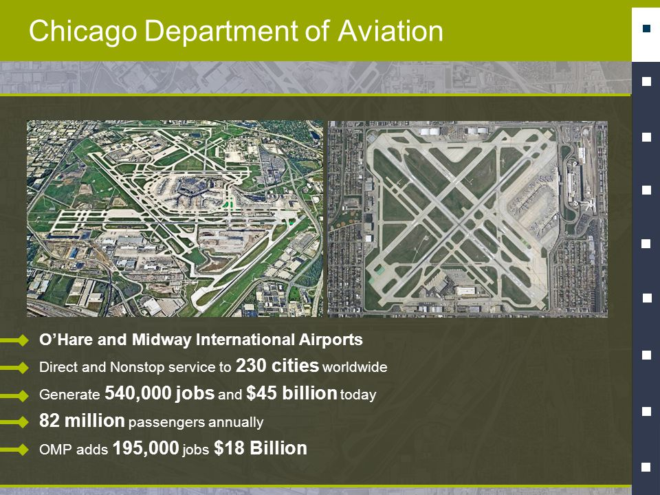 Chicago Department of Aviation OHare and Midway International Airports Direct and Nonstop service to 230 cities worldwide Generate 540,000 jobs and $4