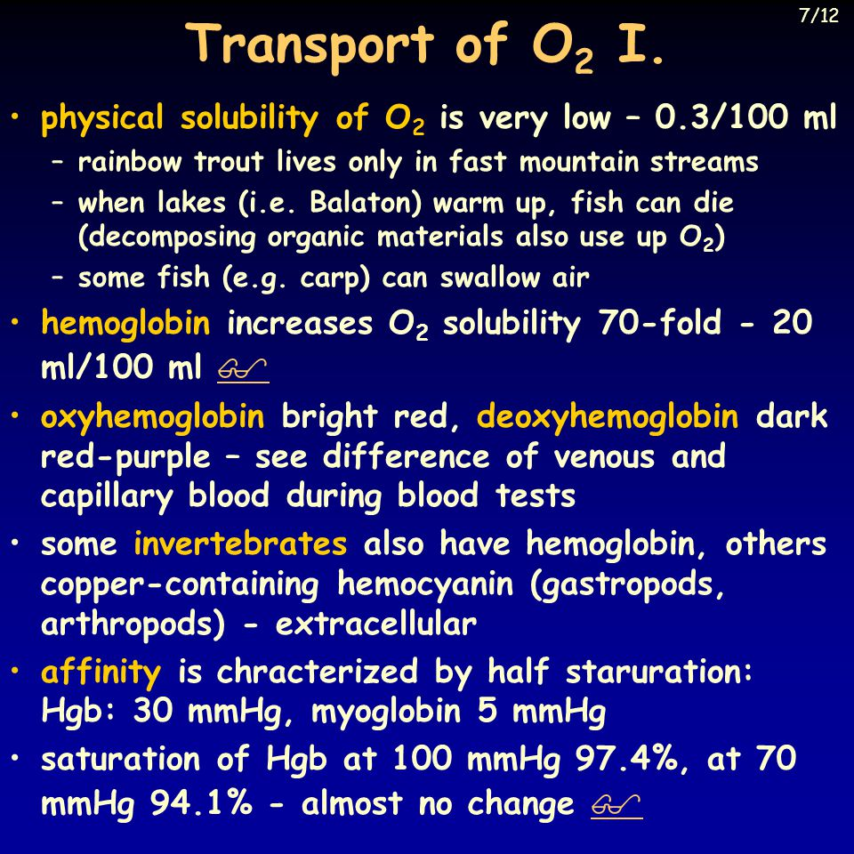 Transport of O 2 I.