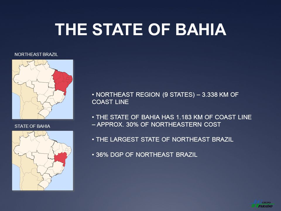 THE STATE OF BAHIA NORTHEAST REGION (9 STATES) – 3.338 KM OF COAST LINE THE STATE OF BAHIA HAS 1.183 KM OF COAST LINE – APPROX.