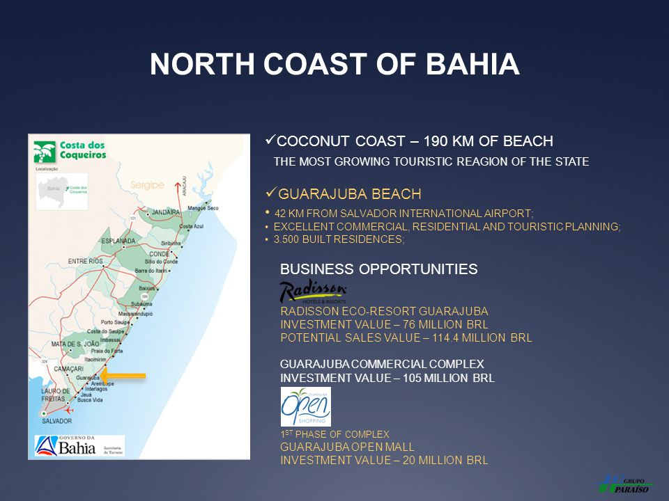 NORTH COAST OF BAHIA COCONUT COAST – 190 KM OF BEACH THE MOST GROWING TOURISTIC REAGION OF THE STATE GUARAJUBA BEACH 42 KM FROM SALVADOR INTERNATIONAL