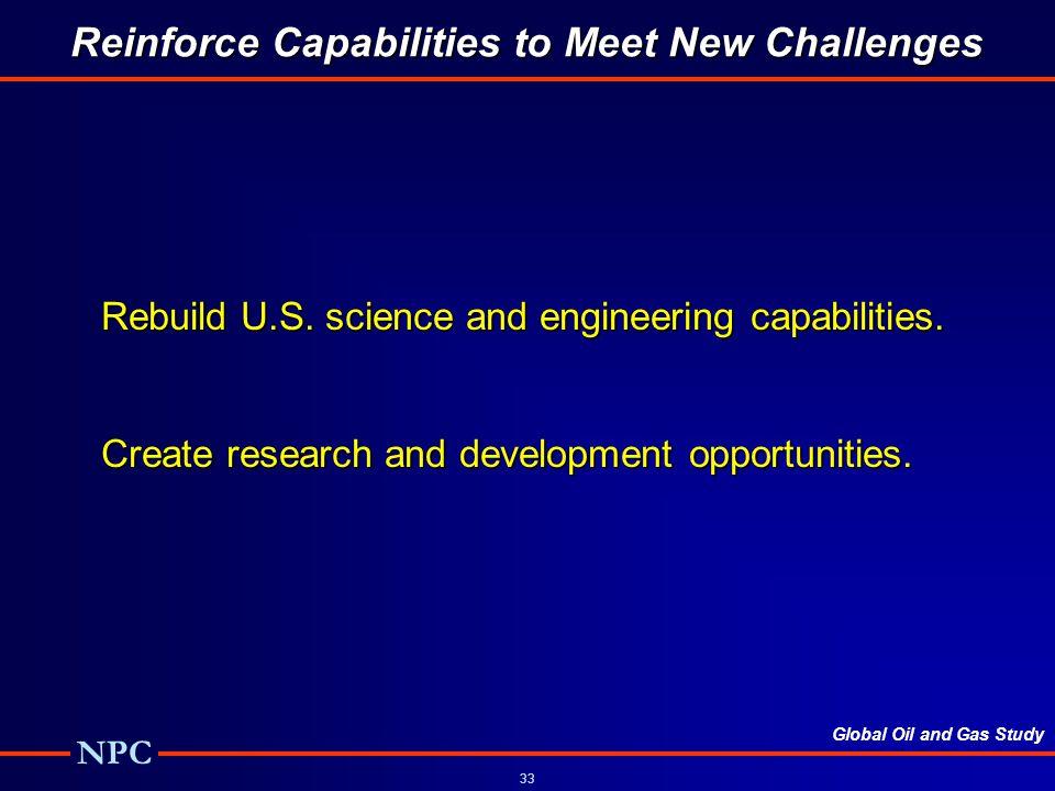 Global Oil and Gas Study NPC 33 Reinforce Capabilities to Meet New Challenges Rebuild U.S.