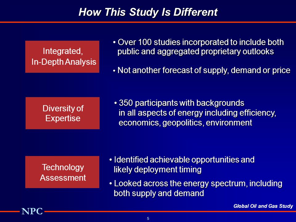 Global Oil and Gas Study NPC 5 How This Study Is Different Integrated, In-Depth Analysis Diversity of Expertise Technology Assessment Over 100 studies incorporated to include both public and aggregated proprietary outlooks public and aggregated proprietary outlooks Not another forecast of supply, demand or price Not another forecast of supply, demand or price 350 participants with backgrounds 350 participants with backgrounds in all aspects of energy including efficiency, in all aspects of energy including efficiency, economics, geopolitics, environment economics, geopolitics, environment Identified achievable opportunities and Identified achievable opportunities and likely deployment timing likely deployment timing Looked across the energy spectrum, including Looked across the energy spectrum, including both supply and demand both supply and demand