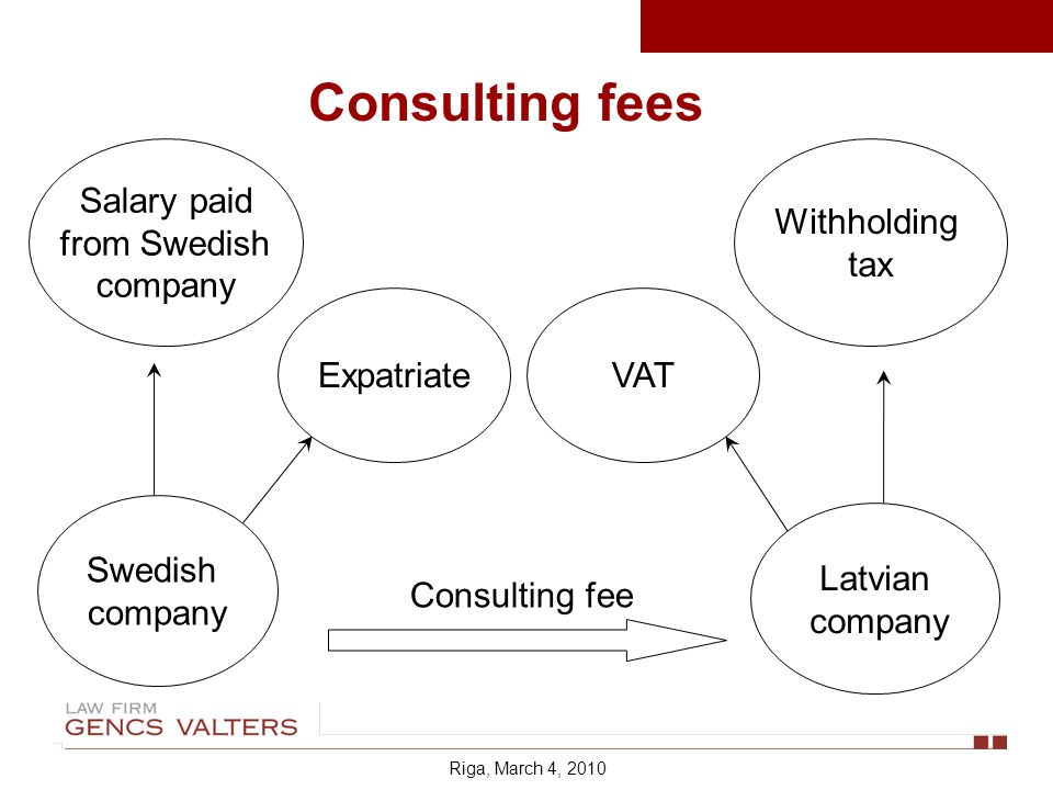 Consulting fees Salary paid from Swedish company Swedish company Expatriate Latvian company Withholding tax VAT Consulting fee Riga, March 4, 2010