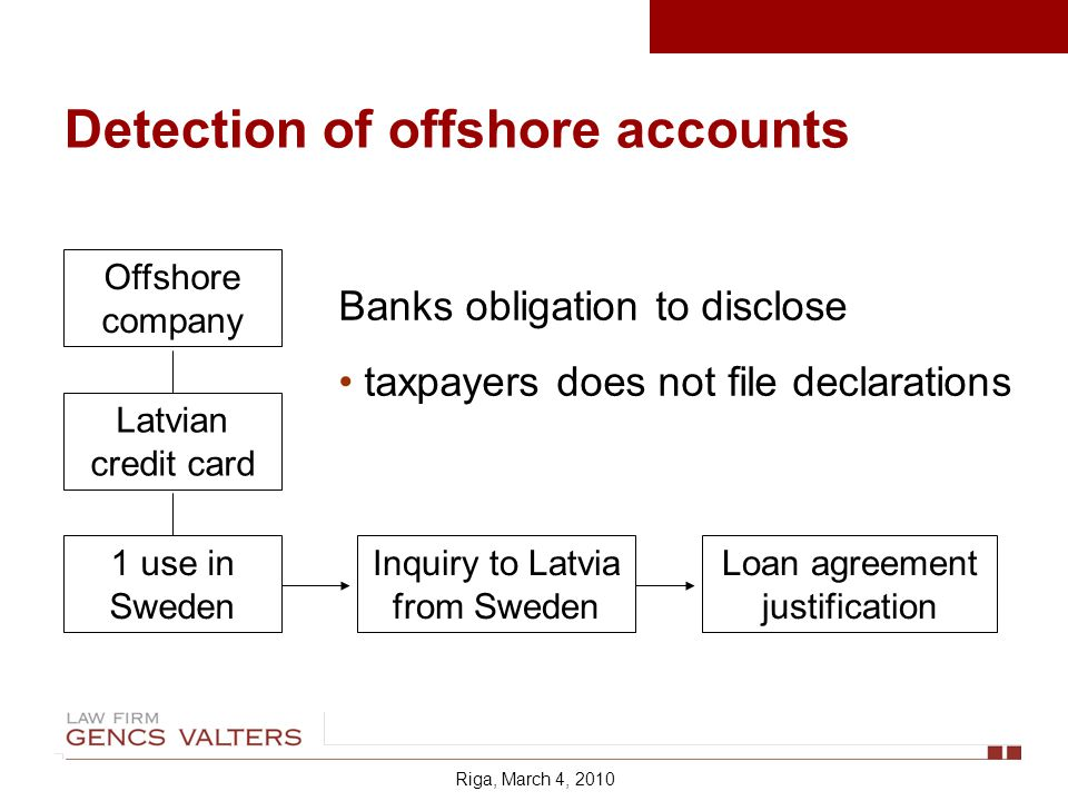 Detection of offshore accounts Offshore company Latvian credit card 1 use in Sweden Inquiry to Latvia from Sweden Banks obligation to disclose taxpayers does not file declarations Loan agreement justification Riga, March 4, 2010