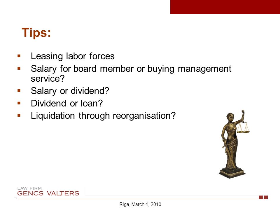 Leasing labor forces Salary for board member or buying management service.