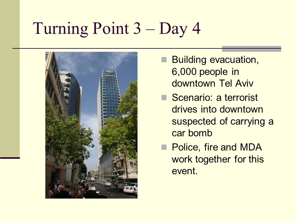 Turning Point 3 – Day 4 Building evacuation, 6,000 people in downtown Tel Aviv Scenario: a terrorist drives into downtown suspected of carrying a car bomb Police, fire and MDA work together for this event.