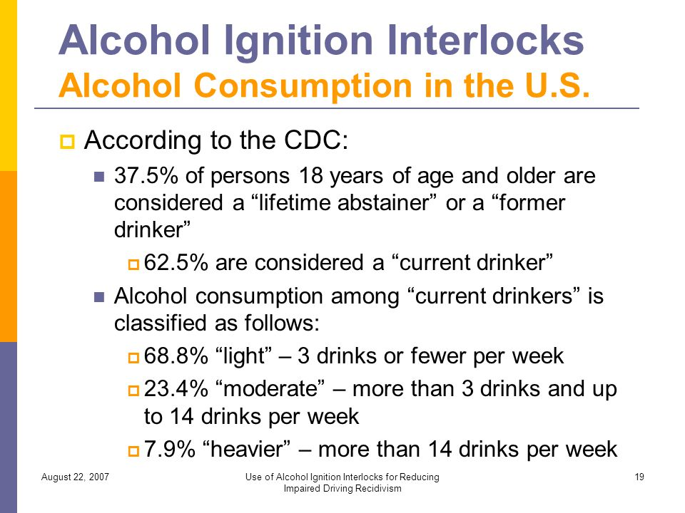 August 22, 2007Use of Alcohol Ignition Interlocks for Reducing Impaired Driving Recidivism 19 Alcohol Ignition Interlocks Alcohol Consumption in the U.S.