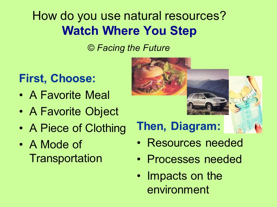 How do you use natural resources.