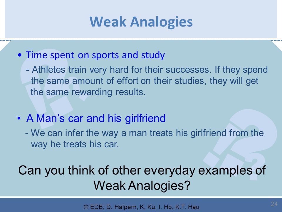 ? ? ! ? ? ! © EDB; D. Halpern, K. Ku, I. Ho, K.T. Hau 24 Weak Analogies Time spent on sports and study - Athletes train very hard for their successes.