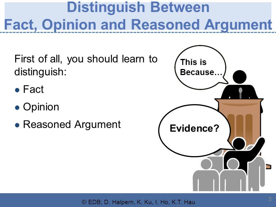 © EDB; D. Halpern, K. Ku, I. Ho, K.T. Hau 5 Distinguish Between Fact, Opinion and Reasoned Argument First of all, you should learn to distinguish: Fac