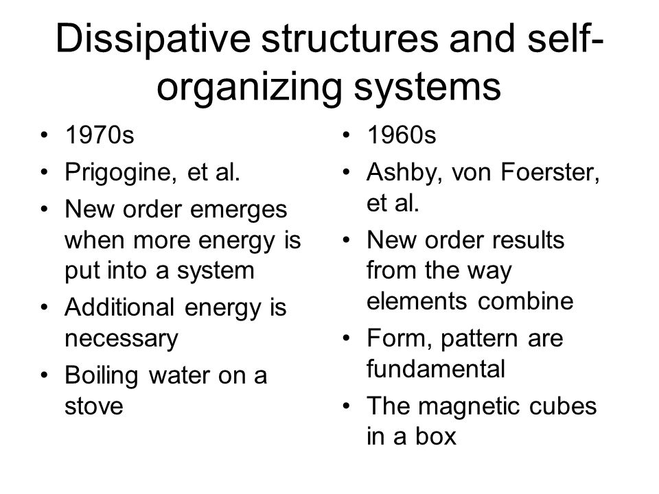 Complex adaptive systems and cybernetics 1980s Santa Fe Institute Cellular automata, genetic algorithms Emergence is a key issue, rather mysterious 1960s and 1970s Biological Computer Lab at UIUC Emergence results from a system going to equilibrium