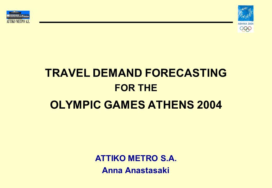 TRAVEL DEMAND FORECASTING FOR THE OLYMPIC GAMES ATHENS 2004 ATTIKO METRO S.A. Anna Anastasaki