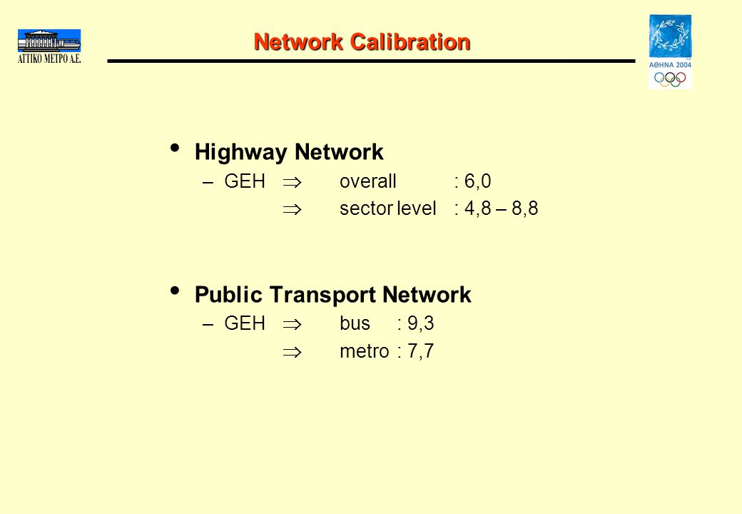 Network Calibration Highway Network –GEH overall: 6,0 sector level: 4,8 – 8,8 Public Transport Network –GEH bus: 9,3 metro: 7,7