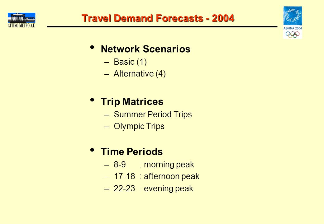 Travel Demand Forecasts - 2004 Network Scenarios –Basic (1) –Alternative (4) Trip Matrices –Summer Period Trips –Olympic Trips Time Periods –8-9: morn