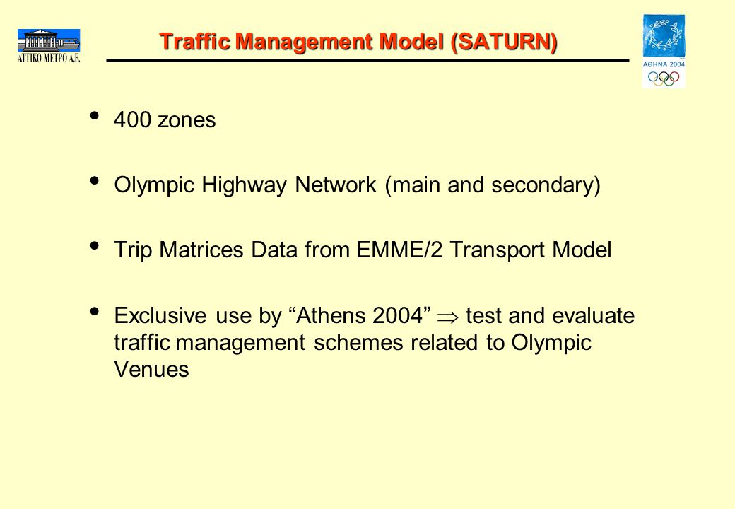 Traffic Management Model (SATURN) 400 zones Olympic Highway Network (main and secondary) Trip Matrices Data from EMME/2 Transport Model Exclusive use by Athens 2004 test and evaluate traffic management schemes related to Olympic Venues