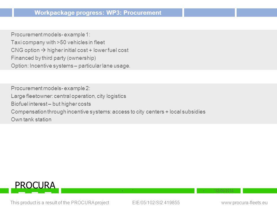 This product is a result of the PROCURA project EIE/05/102/SI2.419855 www.procura-fleets.eu **12/06/2014 PROCURA Workpackage progress: WP3: Procuremen