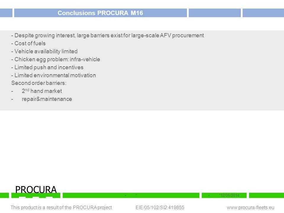 This product is a result of the PROCURA project EIE/05/102/SI2.419855 www.procura-fleets.eu **12/06/2014 PROCURA Conclusions PROCURA M16 - Despite gro