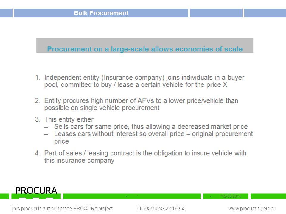 This product is a result of the PROCURA project EIE/05/102/SI2.419855 www.procura-fleets.eu **12/06/2014 PROCURA Bulk Procurement